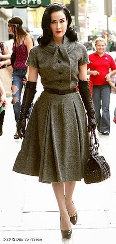 Modern vintage fashion icon wool dress full skirt tweed grey brown Dita Von Teese - Please like http://www.facebook.com/RagDollMagazine and follow @RagDollMagBlog @priscillacita