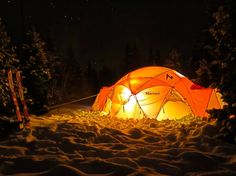 A Marmot Tent glows in the Tetons. Photo: Brenton Reagan, @exumguides. #LoveTheOutside
