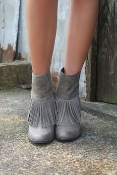 Very Volatile Maple Valley Pointed Toe Taupe Fringe Booties With Chunky Wedge Heel