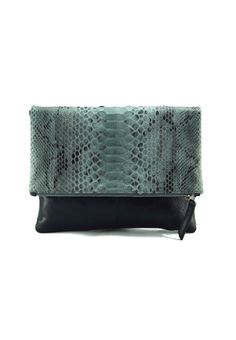 954880ff80 Clearance! Grey motif python and milled black leather reversible foldover  zip clutch bag with detachable strap (defective)