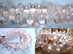 Rose quartz drops faceted beads strands (Code-22\75)..  #rosequartz #dropsfacetedbeads