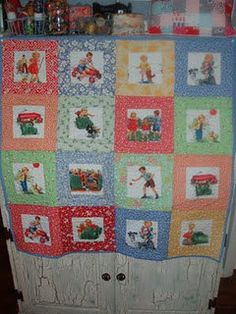 This is a listing for a patchwork quilt made using the popular Dick & Jane Fabric as well as some reproduction 30s fabric ~backed with a retro blue flower fabric and machine quilted.    The finished size of the quilt is 35 inches x 35 inches. It is the perfect size for use as a play mat, stroller blanket, or a baby quilt. What a fabulous baby gift!    This quilt is new and unused, it was made and is kept in a smoke-free home, and would make a practical and thoughtful baby present.    Our ...