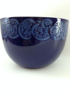1960 Vintage Arabia Finel Finland Blue Enamel Bowl Designer Kaj Franck Finland