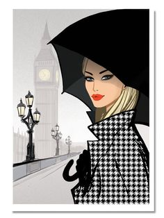 Jason Brooks Store — London Sketchbook : On Westminster Bridge Fashion Art, Girl Fashion, Fashion Design, Jason Brooks, Bright Red Lipstick, Westminster Bridge, Illustration Mode, Illustration Artists, Moda Chic