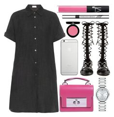 """""""summer classics"""" by foundlostme ❤ liked on Polyvore featuring Raey, Marc Jacobs, Movado, Raye, Native Union, Giorgio Armani, Physicians Formula, NARS Cosmetics, shirtdress and gladiatorsandals"""