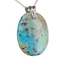 Peruvian Opal Large Blue Oval Pendant Necklace 16 by NewWorldGems