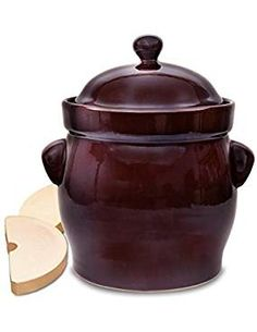 TSM Products Round Polish Fermenting Crock with Stone Weights, 10 L, Burnt Sienna