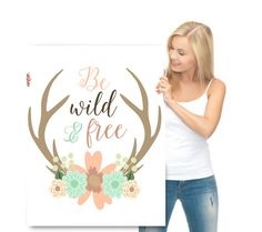 Blush peach pink watercolor flowers deer antler Trendy girl room be wild and free, coral and mint nursery Canvas Print Woodlands Decor by IndigoRain on Etsy https://www.etsy.com/listing/228995166/blush-peach-pink-watercolor-flowers-deer