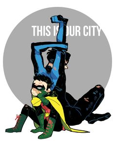 This is our city by sounri - makes me think of when all the Robins helped Batman save Gotham (Batman and Robin vol 2: Pearl)