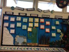 "Habitats of the World board.  Students make ""Flip Facts"" books to post up on each section."