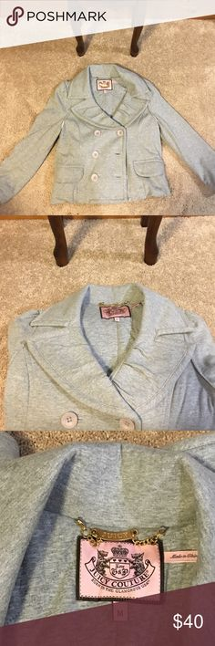 Juicy Couture Jacket Juicy Couture Jacket • Authentic • Size: Medium • Color: Gray • 3/4 sleeves • great condition • no stains, pulls, or tears • only worn a couple times • very cute • price is negotiable Bird by Juicy Couture Jackets & Coats