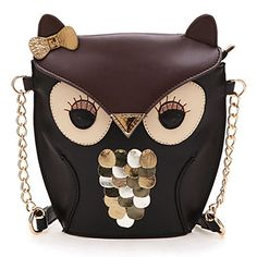 Mujeres Señora Empalme Patrón Color Cross Body Bag Owl - EUR € 8.99