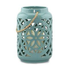 Ceramic Floral Flameless Candle Lantern