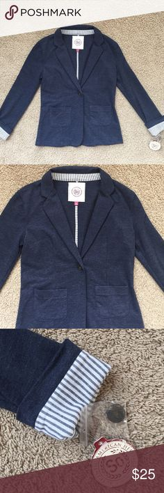 NWT Soft Blazer New with tag, made out of a softer material. Feels like a sweater when on. Sleeves can be rolled up. Comes with an extra button. 60% cotton and 40% polyester. Denim color. Jackets & Coats Blazers