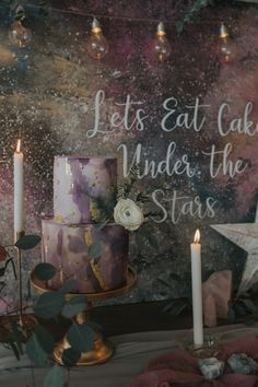 Let's eat cake under the stars – celestial wedding inspiration – starry night – purple & gold moody romantic wedding cake - Brpetfoods Galaxy Wedding, Moon Wedding, Celestial Wedding, Star Wedding, Dream Wedding, Romantic Wedding Receptions, Romantic Weddings, Wedding Themes, Rustic Wedding