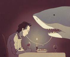Not In Love - Ben Marriott  The relationship between man and shark is more complicated than it seems. An Illustration about love, loathing and linguini.