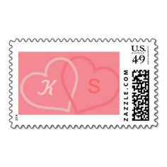 Pink Hearts Postage Stamp with initials of the bride and groom. Wedding stamp => http://www.zazzle.com/hearts_postage_stamp-172777373981775635?CMPN=addthis&lang=en&rf=238590879371532555&tc=pinHSOZPlinkedpinkheartstamp