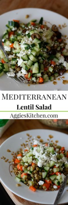 A light but protein packed cold lentil salad full of Mediterranean flavors. A great vegetarian meal!