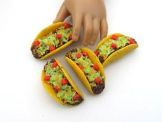 Mexican Beef Tacos with Lettuce, Tomatoes and Cheese - Handmade Gourmet Doll Food For Your American Girl Doll