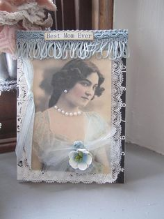 Pastel Blue Mom Card Victorian Birthday Card by AvantCarde