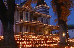 Every October, the small river towns of Kenova and Ceredo in West Virginia pumpkin-up big time for their annual C-K AutumnFest. Hundreds of volunteers carve roughly 3,000 jack-o-lanterns to light up ''The Great Pumpkin House,'' which gourdgeously glows for thousands of visitors. Peak viewing begins Oct. 26, when the organizers hope to have all the pumpkins lit with LEDs.