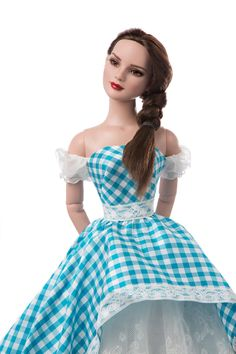The Wizard of oz Dorothy Gale Tonner Doll by Reem Acra Ny Fashion Week, Fashion Wear, Couture Fashion, The Wizard Of Oz Costumes, Dorothy Gale, Lace Ball Gowns, Blue Dresses, Formal Dresses, Barbie Clothes