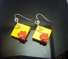 Yellow n Red flowers fun earrings jewelry handmade by AlmondTree #etsy #jewelry #jewellery #shophandmade #shopsmall  #earrings #lego #wirewrapped #wirework