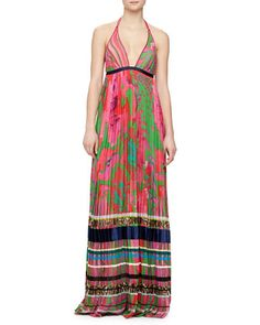 Mixed-Print Striped Plisse Gown by Roberto Cavalli at Neiman Marcus.