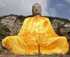 Mengshan Giant Buddha covered with golden cassock, Taiyuan, Shanxi Province, China Outdoor Sculpture, Outdoor Art, Chinese Mountains, Giant Buddha, Golden Buddha, Sitting Buddha, Statues, Art For Art Sake, Dress For Success