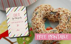 """Love is for the Birds"" Valentine's Day gift tag with recipe to create your own birdseed ornament."