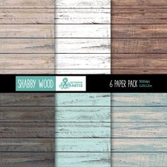 SHABBY WOOD: 6  Digital Paper Pack. Wood, textured, patterns, distressed, crafts paper, scrapbooking.