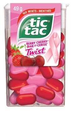 Thanks Tic Tac for releasing a delicious new limited edition flavour, Berry Cherry Twist in support of breast cancer research in Canada! Look for this new flavour with our pink ribbon in stores now! Mexican Food Recipes, Snack Recipes, Snacks, Cadbury Bar, 90s Candy, Ice Cream Taco, Gum Flavors, Yummy Treats, Yummy Food