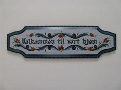 Norwegian Rosemaling Velkommen Sign