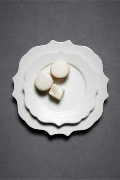 i love white on white dishes, but then mixing textures/shapes. the edges are so delicate. perfect for desserts