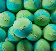World Piece bath bomb: Relax in an oasis of calm as your bath water turns a serene, azure-turquoise and the fresh, sweet scent of peppermint and uplifting tangerine oils envelop you. This is your very own Piece of peace, so take a moment to stop and think. Who will you make peace with?