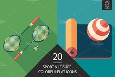 Sport and leisure flat icon set. #sport #sporticons #flaticons #vectoricons #flatdesign