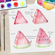 Allium Floral Watercolor Tutorial · How To Paint A Piece Of Watercolor Art · Art on Cut Out + Keep Watercolor Paintings For Beginners, Kids Watercolor, Step By Step Watercolor, Watercolor Fruit, Abstract Watercolor Art, Fruit Painting, Watercolour Tutorials, Watercolor Techniques, Watercolor Landscape