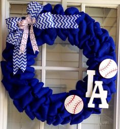 La Dodgers wreath - Blue burlap Wreath - MLB Wreath on Etsy, $65.00