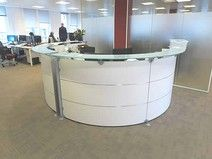 Magnificent contemporary design white reception desk with glass counter shelf. Used Office Chairs, Used Office Furniture, Used Chairs, Office Desk, White Reception Desk, Reception Areas, Office Storage, Contemporary Design, Counter