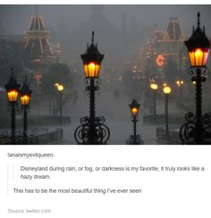 I remember we went to Disney World before and it started raining insanely hard. It was honestly a beautiful sight in a eerie way because the streets were all cleared.