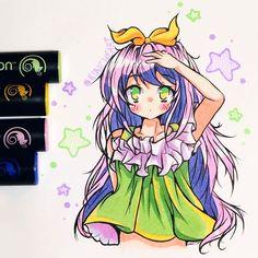 Stunning anime drawing by @kiricheart using their Chameleon Pens! #anime #animegirl #manga #mangagirl #colour #color #colouring #coloring #pen #marker #alcoholmarkers #onepenblends #chameleonpens