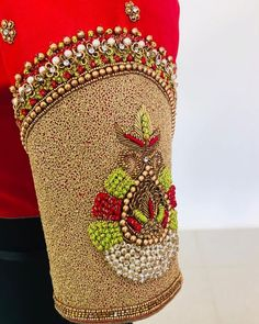 25 Dashing Red Work Blouse designs to try for your wedding - Wedandbeyond Hand Work Blouse Design, Simple Blouse Designs, Stylish Blouse Design, Bridal Blouse Designs, Blouse Neck Designs, Aari Work Blouse, Sleeve Designs, Blouse Styles, Maggam Work Designs