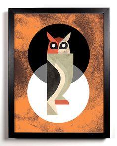 {Black White Orange Great Horned Owl}