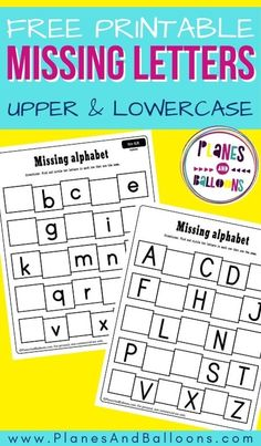 Free printable missing letters worksheets for preschool and kindergarten. Alphabet letter practice, writing uppercase and lowercase letters. #abcs #alphabet #planesandballoons Missing Letter Worksheets, Letter Worksheets For Preschool, Kindergarten Lesson Plans, Fun Worksheets, Kindergarten Reading, Kindergarten Classroom, Kindergarten Activities, Preschool Ideas, Teaching Ideas