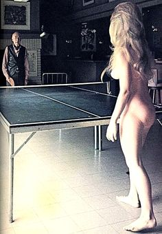 Henry Miller playing ping pong, 1971