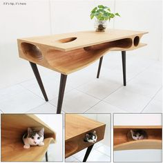 The CATable, A Work Table For You With Built-In Feline Fun.