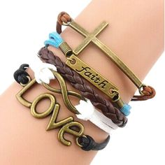 Bestpriceam Handmade Adjustable Cross Faith Heart Love Multilayer Bracelet Wristband * Once in a lifetime offer : Beauty products 99 cent