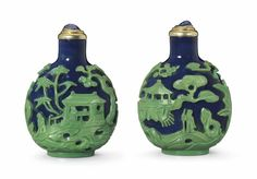 "Rare Snuff Bottle (green glass ""figures"" overlayed the blue glass)  (circa.1770-1850)"