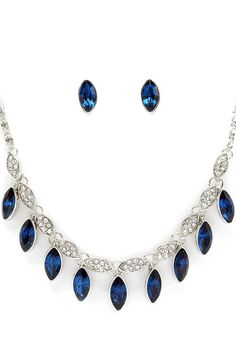 Sapphire Crystal Andrina Necklace & Earrings.