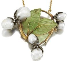 Art Nouveau Jewelry, Nauthe gustave enamel and pearl necklace
